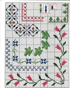 Anaide Ponto Cruz: Barred graphics in corner cross stitch. Cross Stitch Boarders, Cross Stitch Alphabet, Cross Stitch Flowers, Cross Stitch Charts, Cross Stitch Designs, Cross Stitching, Cross Stitch Embroidery, Cross Stitch Patterns, Beaded Cross