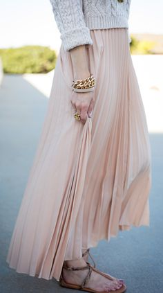 Chiffon Pleated Maxi Skirt in Nude