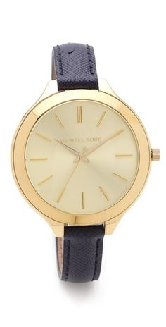 4949c52968e Michael Kors Leather Slim Runway Watch - this is MY kind of MK watch!
