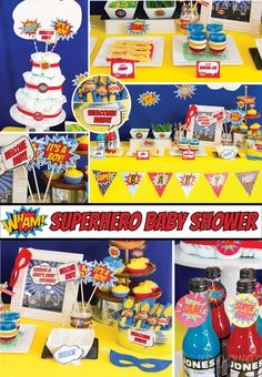 ON SALE Superhero baby shower games coed baby by CoralBalloon