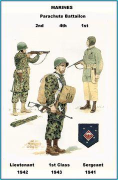 USMC - 1st 2nd & 4th Parachute Battalion - 1941/43 Marine Corps Uniforms, Ww2 Uniforms, Military Uniforms, Us Marines, Army Drawing, American Uniform, Uniform Insignia, Uncle Sam's Misguided Children, Gung Ho