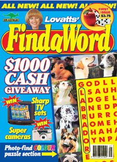 The first edition of the wordsearch puzzle magazine Findaword, published in April 1998.