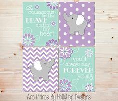 Elephant Nursery Art Baby Girl Nursery Decor by HollyPopDesigns