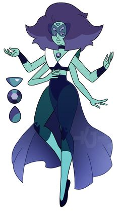 She was a pretty cool design challenge I wanted to have her design be cohesive with the other fan fusions I've done with these three eg; Fluorite + Lapis = Musgravite, Turquoise + Amethyst = Musgravite, Iolite + Peridot etc and have their. Steven Universe Fan Fusions, Steven Universe Funny, Character Inspiration, Character Art, Gem Fusions, Lapis And Peridot, Villainous Cartoon, Universe Art, Fantasy