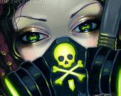 Faces of Faery 219 art print by Jasmine Becket-Griffith 6x6 biohazard gas mask cyberpunk big eye fairy face