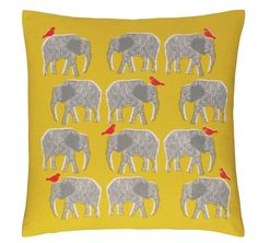 This gorgeous elephant cushion cover, with little bird friends.