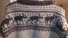 Wenchesstrikkeverden – 18 Des Elg Marius genser str L Etnic Pattern, Double Knitting Patterns, Pixel Characters, Filet Crochet, Old And New, Clothing Patterns, Norway, Boho Shorts, Cardigans