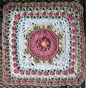"""BLOCK 41 Ravelry: Fountain of Roses 12"""" Square pattern by Shan Sevcik"""