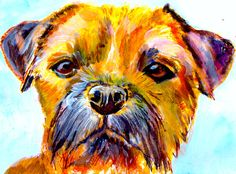Border Terrier Painting print, Colorful dog Painting, Gift for Border Terrier owner, Border Terrier Picture, Dog picture,… #dogs #etsy #art