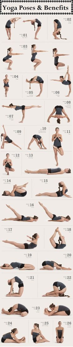 26 Common Yoga Poses- wonder if I could hold these for more than 2 seconds...