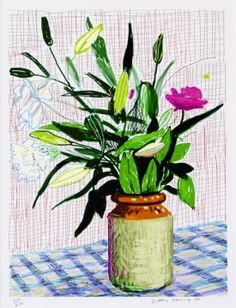 Hockney Hockney, IPad drawing lilies, Lithographie