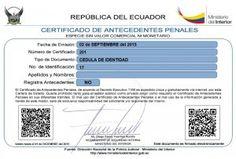 Record Policial 2015 Certificado de Antecedentes Penales Ecuador