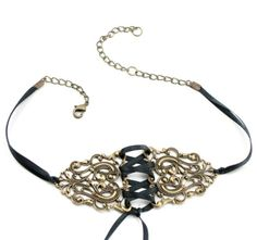 Nightshift - GORGEOUS Steampunk Gothic Lolita Antiqed Brass Filigree Corset Choker - GhostLove Signature Design, $35.00