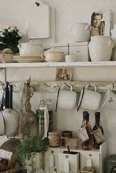 "Nowadays, more and more people are utilizing the ""shabby chic"" approach to interior design and decoration. Kitchen Dining, Kitchen Decor, Kitchen Stuff, Kitchen Storage, Kitchen Shelves, Mint Kitchen, Ivory Kitchen, Dish Storage, Kitchen Plants"