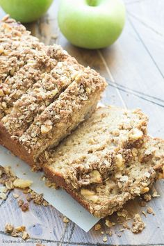 This Greek Yogurt Apple-Cinnamon Quick Bread is SO moist! It has a walnut oat streusel and is delicious for breakfast (or dessert)! #KitchenAidContest #ad @kitchenaidusa