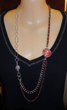 Fabulous Red & Silver Fashion Necklace PRICE by JewelryByVSLong, $22.00
