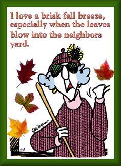Maxine fall autumn leaves neighbor's yard
