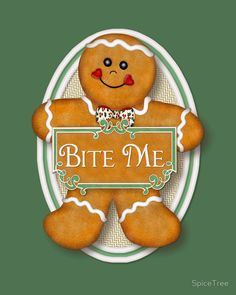 CHRISTMAS BITE ME GINGERBREAD IPHONE WALLPAPER BACKGROUND
