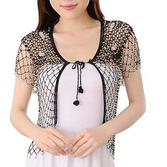 Sheicon Women Lace Hollow Out Handmade Open Front Shrugs For Dress Rhinestone Color Black Size One Size -- Read more at the image link.