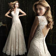 Sexy Lace Appliques Hollow Out Back Wedding Dress Deep V Neck Long Bridal Gowns Vestido De Novia
