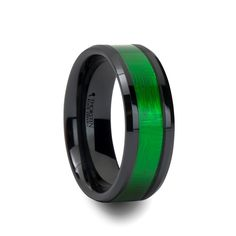 LUMEN Black Men\'s Ceramic Wedding Band with Green Inlay