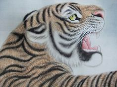 Large watercolour tiger Watercolor Tiger, Watercolour, Chinese Scroll, Contemporary Artwork, Vintage Prints, Original Paintings, The Originals, Pen And Wash, Watercolor Painting