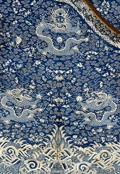 Blue & White… Twelve-Symbol robe, detail. Kesi in various shades of blue and white. China, early 19th century.