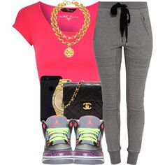 A fashion look from January 2014 featuring crop top, sweat pants and black purse. Browse and shop related looks.