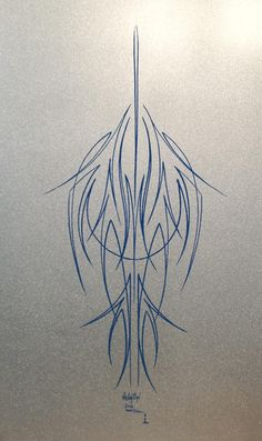 Rob Valentini Valentini Pinstriping blue on pearl white