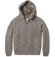 Loro Piana    Beaver Fur-Lined Hood Baby Cashmere Cardigan    ONLY 7Grand!___Better have TWO.