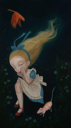 FALLING BY TOMOMI HASEGAWA Lewis Carroll, Adventures In Wonderland, Wonderland Alice, Tim Burton Art Style, Alice In Wonderland Illustrations, Alice Cosplay, Weird Pictures, Amazing Art, Illustrators