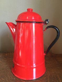 Kettle, Polland Kettle, Red Kettle, Tea Pot, Farmhouse Decor