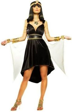 Sexy Costumes - This beautiful Nile Princess Costume features the gorgeous black Cleopatra costume dress with attached drapes and cuffs, and the matching gold headpiece. Cleopatra Halloween, Goddess Halloween, Nefertiti Costume, Egyptian Fashion, Egyptian Women, White Queen Costume, White Costumes, Black Costume, Masquerade