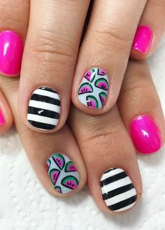 Watermelon Nail Art Designs for spring nails and Summer fun with stripes #nailstagram #nailswag #watermelon