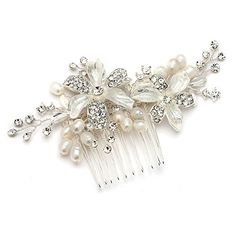 Mariell Bridal Comb with Freshwater Pearl HandPainted Enamel Leaves and Austrian Crystals Stunning *** See this great product.Note:It is affiliate link to Amazon.