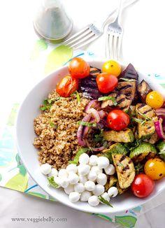 Balsamic Grilled Summer Vegetables (Eggplant, Zucchini, Tomato, Red Onion), Pearlini Mozzarella and Basil Quinoa Salad Recipe