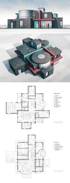 project of a family villa. - The project of a family villa. -The project of a family villa. - The project of a family villa. Pequeña, simple, práctica y funcional.😍 These tables are so cool! Architecture Concept Drawings, Revit Architecture, Interior Architecture, Architecture Student, Villa Plan, Villa Design, Modern House Plans, Modern House Design, Casas The Sims 4