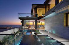 Strand Residenz in Kalifornien außenbereich glas geländer