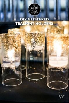 Art deco themed weddings are all the rage still, as well is everything glittery. The easiest way to add a sparkly piece for your wedding décor is to make these glittered tealight holders. To begin you'll need spray on adhesive, gold glitter, tealight holder and tealight candle.
