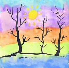"""This project produced a lot of really nice paintings in my afterschool watercolor class today. It's a bit of a stretch to ask kinders to paint very gentle and curvy lines, but they got the idea at least that tree trunks are thick and branches are thin. Not a bad place to start.  1. I'm finding I can get pretty good prices on watercolor paper if I save up my coupons for Aaron Bros. and Michael's. I gave each student an 11"""" x 15"""" sheet and had them draw a yellow sun near the top of the paper…"""
