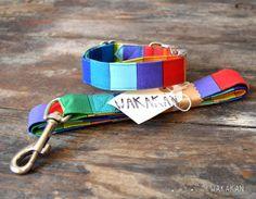 Collar para perro Rainbow ajustable. Correa arcoiris por Wakakan, €10.00
