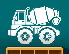 Construction cement truck vinyl wall decal. Great focal element for a construction themed bedroom or playroom!