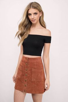 33420367cd52c Grab attention in the Talk To Me Off Shoulder Top. Featuring a ribbed and  cropped look. Wear with high-waisted denim.