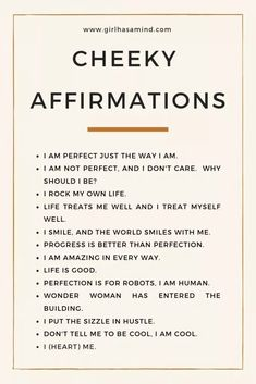 Girl Has a Mind - Cheeky affirmations, for those who like to add some humour - Girl Has a Mind Self Esteem Affirmations, Affirmations For Women, Daily Positive Affirmations, Positive Affirmations Quotes, Morning Affirmations, Law Of Attraction Affirmations, Affirmation Quotes, Positive Quotes, Affirmations For Success