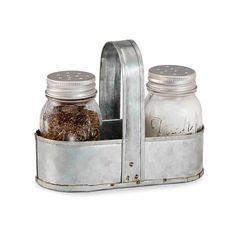 AmazonSmile: Mud Pie Fresh Jar Salt and Pepper Caddy Set, Silver: Kitchen & Dining