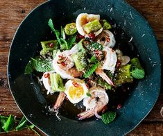 """Also known as """"yum makeua"""", this grilled eggplant and prawn salad by Palisa Anderson (of Sydney restaurant Chat Thai) is simple to prepare, but delicious to eat. To finish, drizzle with a zesty chilli-lime dressing."""