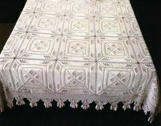 Square motif bedspread,  click on the images to enlarge