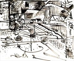 Hans Hofmann (1880-1966) Untitled Landscape  circa 1934 India Ink on Paper 13 7/8 x 16 7/8 in