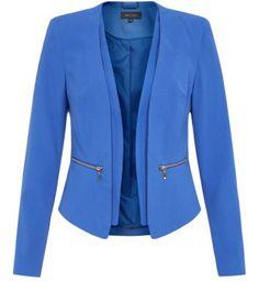 Blue Crepe Zip Pocket Blazer Jacket