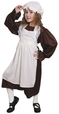 Victorian Poor Girl--------------A great costume for that Victorian Day at school or for pretending to be a Victorian maid. The costume comprises a separate brown dress, a separate apron with detail trimming, and a mob cap. This is a great servant girl outfit.